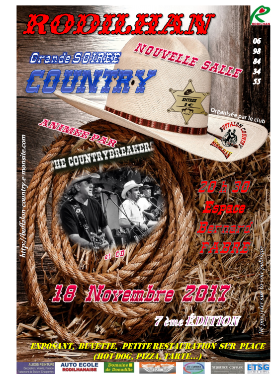 Soiree country breakers rodilhan 18 novembre 2017