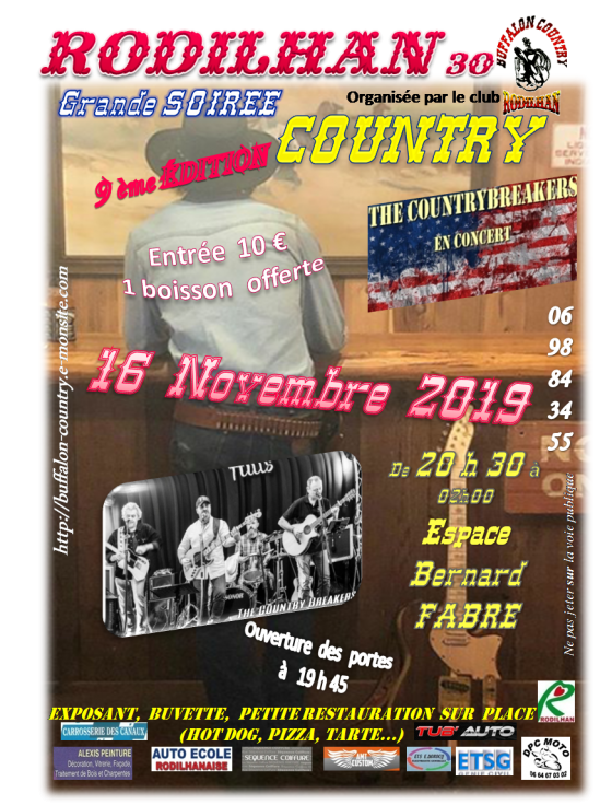 Soiree countrybreakers rodilhan 16 novembre 2019